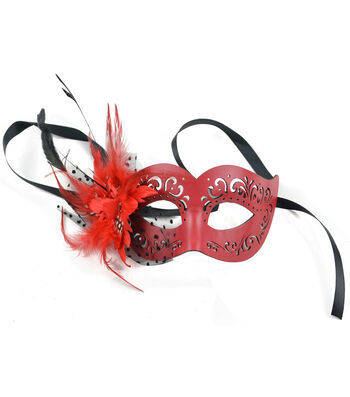 Maker's Halloween 9'' Leather Half Mask with Feather & Flower-Red
