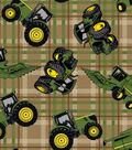 John Deere® Cotton Fabric 43\u0027\u0027-Tractors on Plaid