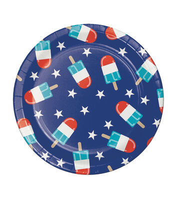 Americana Patriotic 8 Pack Paper Lunch Plate-Frosty Fireworks