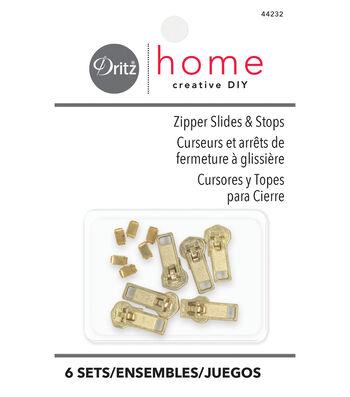 Dritz Home Brass Upholstery Zipper Slides & Stops