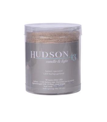 Hudson 43 30 ct LED Burlap Garland-Warm White
