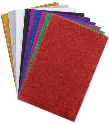 "Darice Glitter Sticky Back Foam Sheets 6""X9"" 12/Pkg-Assorted Colors"
