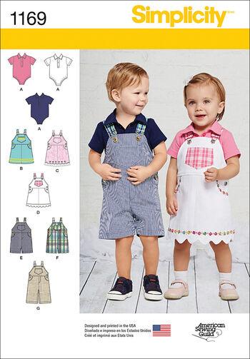 Simplicity Pattern 1169A Infants' Overalls & Jumpsuits-Size XXS-L