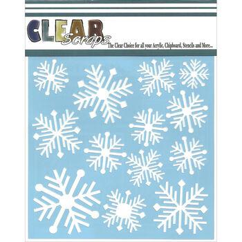 Clear Scraps 6''x6'' Plastic Stencil-Nordic Snowflakes