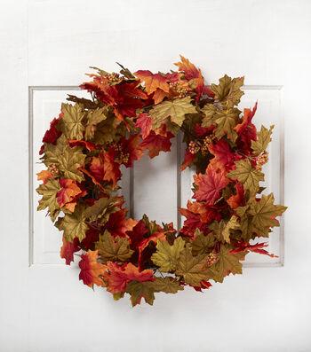 Blooming Autumn 24'' Maple Leaves Wreath-Orange & Red