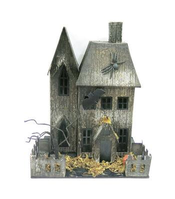 Maker's Halloween LED Paper Halloween Spooky House-Gray
