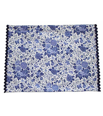 Americana Patriotic 14''x20'' Indoor Placemat-Blue Floral on White