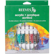 Reeves Acrylic Paints 10ml 18/Pkg-Assorted Colors, , hi-res