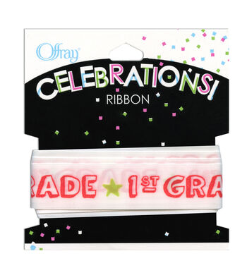 "Offray Celebrations Ribbon 7/8"" x 9'- School"