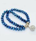 Crystal Two Line Drop Bracelet-Cobalt Matte