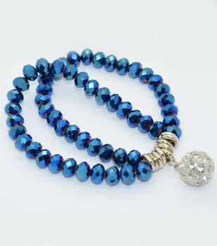 Crystal Two Line Drop Bracelet Cobalt Matte