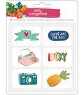 Amy Tan Hustle & Heart Enamel Pin Stickers-Gold Foil Accents