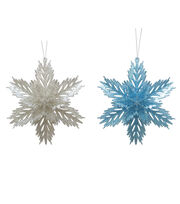 Maker's Holiday Christmas Snowflake Ornaments-Silver & Blue, , hi-res