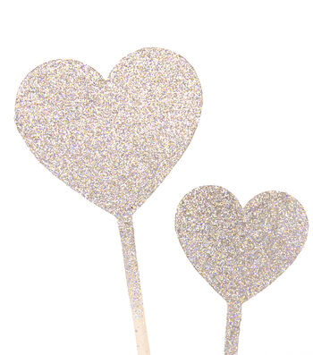 Save The Date 6 Pack Glitter Heart Picks-Silver Iridescent