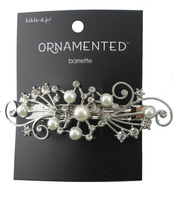 hildie & jo 1.25''x3.63'' Silver Barrette-Pearls & Clear Crystals