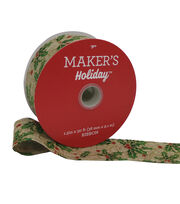 Maker's Holiday Christmas Ribbon 1.5''x30'-Holly & Berry on Natural, , hi-res