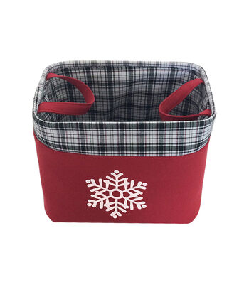 Maker's Holiday Christmas Large Red Basket-Plaid & Snowflake