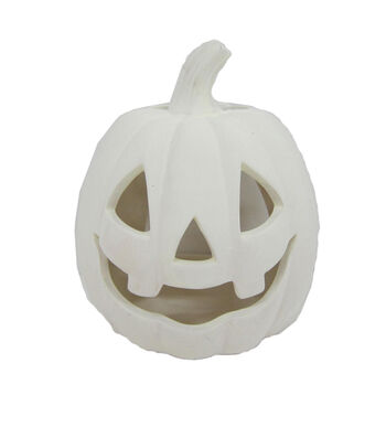Maker's Halloween Small Stoneware Pumpkin Tealight Holders-White