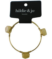 hildie & jo™ 7'' Gold Bangle Bracelet-Ivory Stones, , hi-res