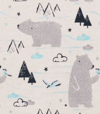 "Snuggle Flannel Fabric 42""-Sketched Polar Bear"