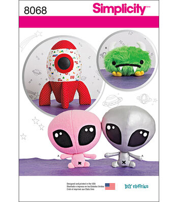Simplicity Stuffed Alien, Space Monster And Rocket Ship-One Size