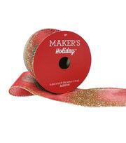 Maker's Holiday Christmas Sheer Ribbon 2.5''x25'-Red & Green Glitter, , hi-res