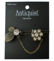 hildie & jo Antiquist Leaves & Flower Antique Gold Barrette, , hi-res