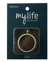 hildie & jo™ My Life Round Gold Locket-Clear Crystal, , hi-res