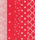 Fat Quarter Bundle Cotton Fabric 5-Pieces 18\u0027\u0027-Floral on Red