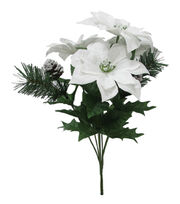 Blooming Holiday Christmas Poinsettia & Pine Mixed Spray-White, , hi-res
