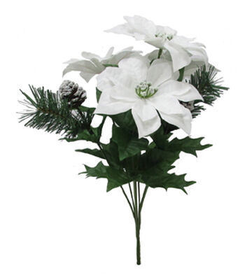 Blooming Holiday Christmas Poinsettia & Pine Mixed Spray-White
