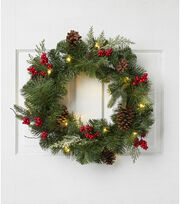 Blooming Holiday Pine, Pinecone & Berry Wreath with Light-Green & Red, , hi-res