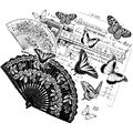 Crafty Individuals Unmounted Rubber Stamp Oriental Fans