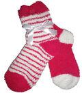 2 Stripe Dark Pink & White Tactile Sock