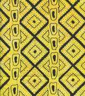 Ethnic Rayon Fabric-Yellow Geo Stripe
