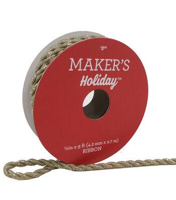 Maker's Holiday Christmas Cord Ribbon 1/6''X9'-Tan & Gold