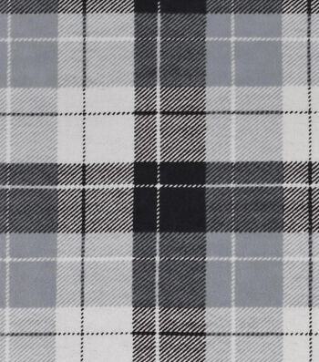 "Snuggle Flannel Fabric 42""-Gray Plaid"