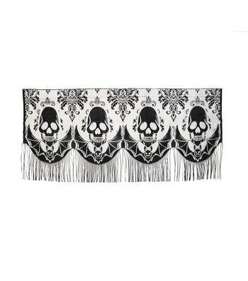 Maker's Halloween 60''x22'' Mantle Scarf-Black Skull