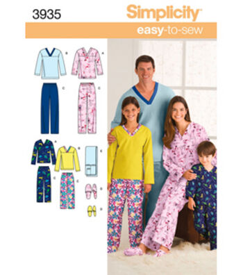 Simplicity Pattern 3935A Child & Adult Sleepwear-Size XS-L/XS
