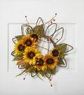 Blooming Autumn 23\u0027\u0027 Sunflower Twig Wreath-Yellow & Orange