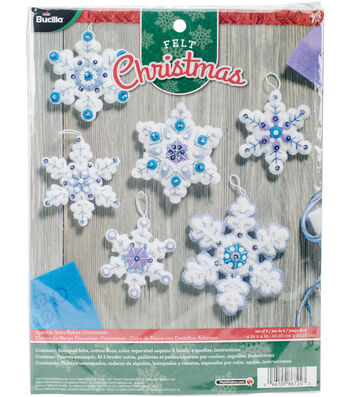 "Sparkle Snowflake Ornaments Felt Applique Kit 4""X4"" Set Of 6"