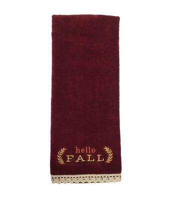 Fall Into Color 16''x28'' Velour & Terry Printed Hand Towel-Hello Fall