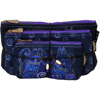 Laurel Burch Cosmetic Bag Set Of Three-Indigo Cats