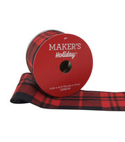 Maker's Holiday Christmas Ribbon 2.5''x25'-Black & Red Check, , hi-res
