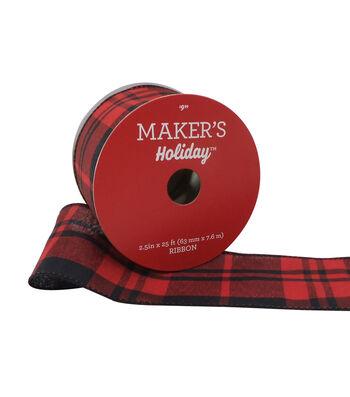 Maker's Holiday Christmas Ribbon 2.5''x25'-Black & Red Check