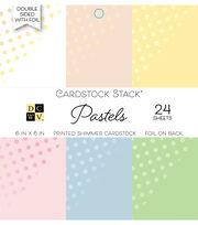 DCWV 24 Pack Double-Sided Foil Printed Shimmer Cardstock Stack-Pastels, , hi-res