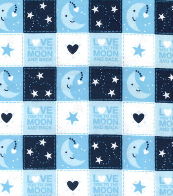 Nursery Flannel Fabric 42''-Love You to the Moon and Back Patch