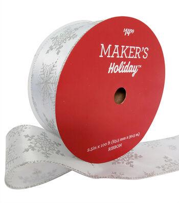 Maker's Holiday Christmas Value Ribbon 2.5''x100'-Silver Snowflakes