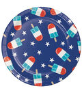 Americana Patriotic 8 Pack Paper Dinner Plate-Frosty Fireworks