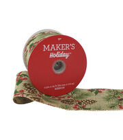 Maker's Holiday Christmas Ribbon 2.5''x25'-Pinecone & Berries on Beige, , hi-res